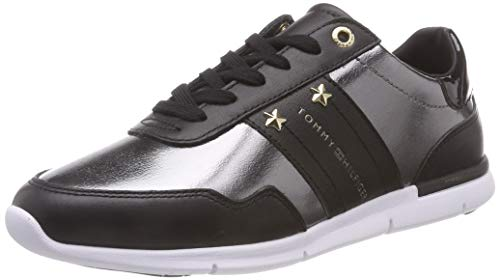 Tommy Hilfiger Damen Tommy Essential Leather Sneaker, Schwarz (Black 990), 41 EU