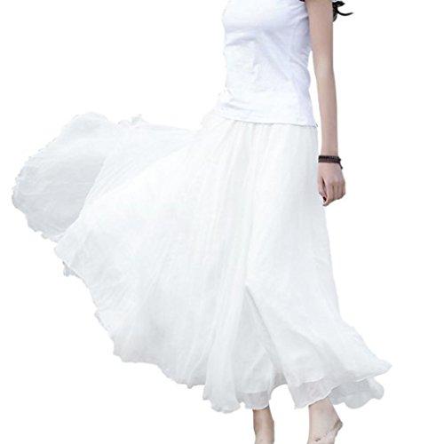 Frauen ElastischTaillen Chiffon Lang Maxi Strand Solid Kleid (Plus Size Tüll Rock)