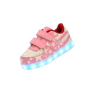 Ake Girls Junden LED Light Schuhe USB Charging Luminous Sneakers Skidproof Flashing Sport Shoes -Pink