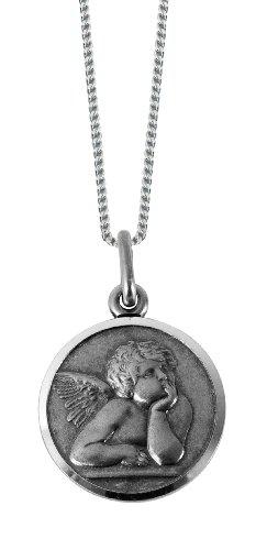 Schönes Sterling Silber Medaillon zeigt Raphael Stil Angel. Perfekt für junge Kind. Mit Box