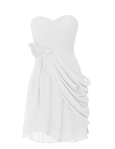 Dresstells, robe courte de demoiselle d'honneur mousseline avec fleurs Ivoire