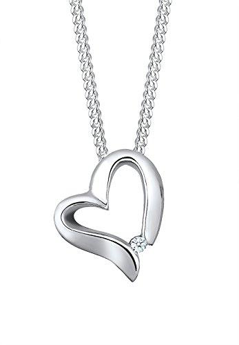 Elli Premium Damen Schmuck Halskette Kette mit Anhänger Herz Liebe Freundschaft Liebesbeweis Silber 925 Diamant 0,02 Karat Weiß Länge 45 cm