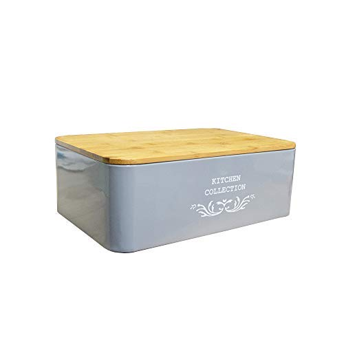 DRULINE Brotkasten Bambusdeckel aus Metall Kitchen Collection 12 x 33 x 21 cm Anthrazit
