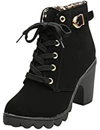 Ansenesna Stiefeletten Damen Mit Absatz Leder Gefüttert Winter Schuhe  Blockabsatz Elegant Vintage Boots Zum Schnüren Für 97ac2d86e6