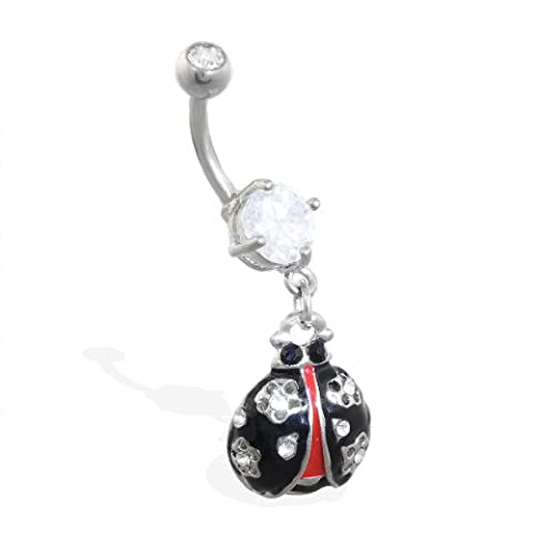 MsPiercing Navel Ring With Dangling Ladybug