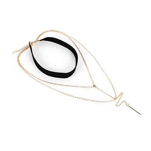 Blisfille Halskette Gold Choker Halsband Damen Kette Vergoldet Choker Kette Mehrfachschichten Langem Bar Anhänger 50 cm