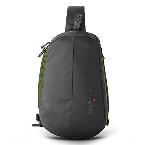 Unigear Sling Rucksack, Sling Bag mit verstellbarem Schultergurt Schulterrucksack Umhängetasche Crossbag Daypack Perfekt für Wandern, Radfahren, Bergsteigen, Reisen (Grau) -
