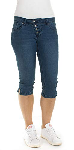 Buena Vista Damen Malibu-Capri Jeans Stretch Denim Middle Blue 1153 S