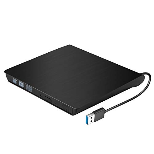 EXTSUD Externes DVD Laufwerk | Slim Tragbar Laufwerk | USB 3.0 Externe DVD-RW CD Brenner für alle Laptops,Desktop und Notebook | alle Versionen von Windows Vista Mac OS System | MEHRWEG