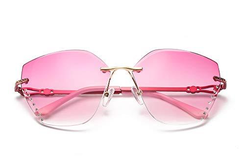 LKVNHP Vintage Sonnenbrille randlose Frauen Sonnenbrille Retro Farbverlauf Brillenpink Tempel -