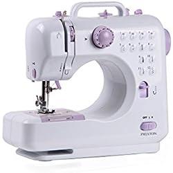PRIXTON - Machine à coudre / Machine a coudre portable avec tiroir pour accessoires, lampe intégrée et 12 types de points différents, comprend une pédale, Dimensions 26x25x11.5 cm | P110