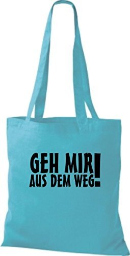 ShirtInStyle Stoffbeutel Geh Mir Aus Dem Weg! Fun Beutel Baumwolltasche Beutel, diverse Farbe sky blue
