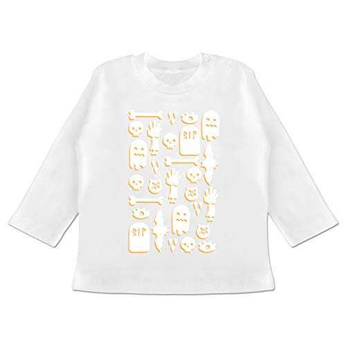 Anlässe Baby - Halloween Totenkopf Mosaik - 6-12 Monate - Weiß - BZ11 - Baby T-Shirt ()