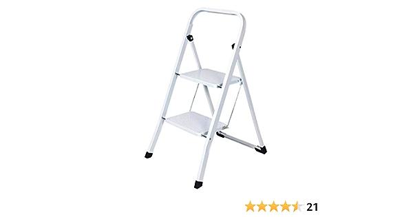 Mini Trittleiter 2 Stufen Klappbar Stahl Klapptritt Klapptreppe Haushaltsleiter bis 150 kg mit Anti-Rutsch Matten Einfach zu Verstauen f/ür zu Hause B/üro K/üche
