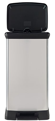 Curver 50 L Metal Effect Plastic Pedal Touch Deco Bin, Silver
