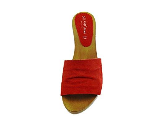 Zoccolo in vero legno e pelle di camoscio, e pelle-Silfer Shoes - Made In Italy- Rosso-Marrone