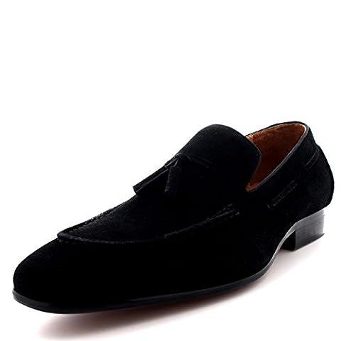 Queensbury Taylor Mens Loafer Moccasin Real Full Leather Tassel Driving Shoes - Black - UK8/EU42 - KK0006