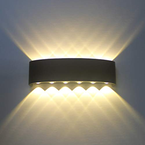 Lámpara de pared Interior, 12W Negro LED Apliques de Pared Modernos Aluminio Bañadores de pared Luz...