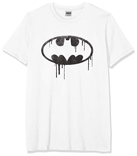 DC Comics Herren Batman Dripping Logo T-Shirt, weiß, XL -