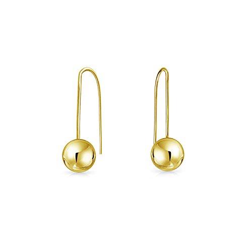 Winzige Minimalistischen Drop Ball Durchzieher Ohrringe Für Damen Für Jugendlich Für Freundin Echten Gelbgold 14K - Gold Drop Ball Ohrringe