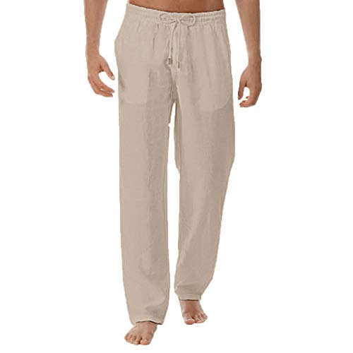 Dasongff Leinenhosen Männer Sommer Herren Hose Leichte Lockere Stoffhose Chinohose Freizeithose Arbeitshose in Leichter Qualität Straight Fit in weiß (Khaki, XXL) -