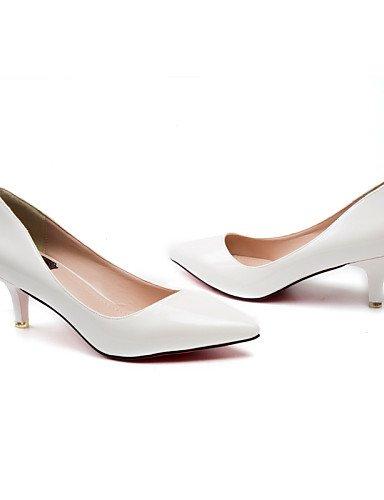 GS~LY Da donna-Tacchi-Ufficio e lavoro / Formale / Casual / Serata e festa-Tacchi / A punta-A stiletto-Vernice-Nero / Bianco / Tessuto almond / nude-us6.5-7 / eu37 / uk4.5-5 / cn37
