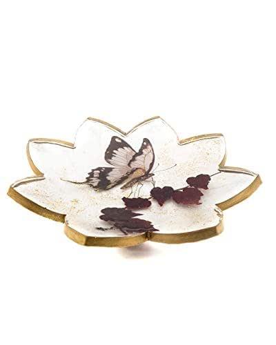Portagioie, svuotatasche, porta bonbon Fiore con farfalla e foglie
