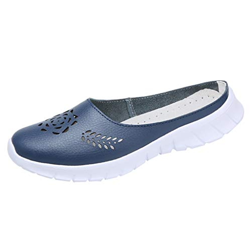 KonJin Women Sneakers Outdoor Flat Hollow Leather Casual Sports Peas Shoes Breathable Soft Bottom Shoes
