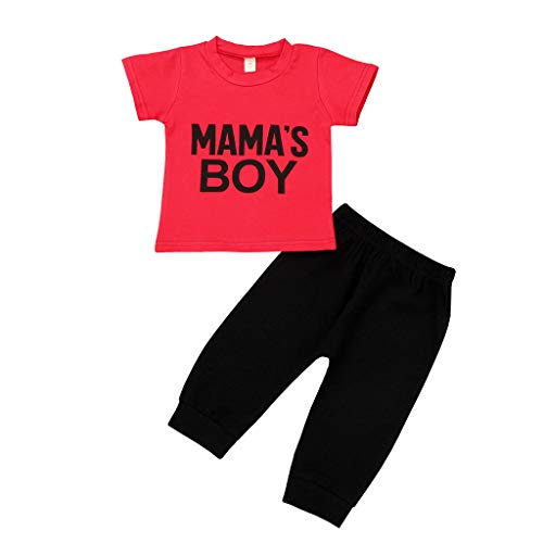 sunnymi 0-4 Jahre 2Tlg Kinder Baby Jungs Tops + Hosen Kurzarm Outfits Set (Jungs Neugeborenes Baby-puppen,)