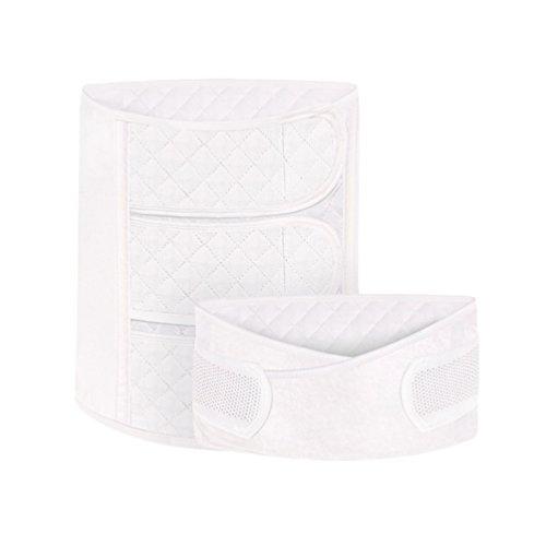 Dexinx 2 in 1 Postpartale Unterstützung - Recovery Bauch/Beckengurt elastische atmungsaktive Mutterschaft postnatale Erholung Unterstützung Frauen Body Shaper Taille Trainer Gürtel Weiß M