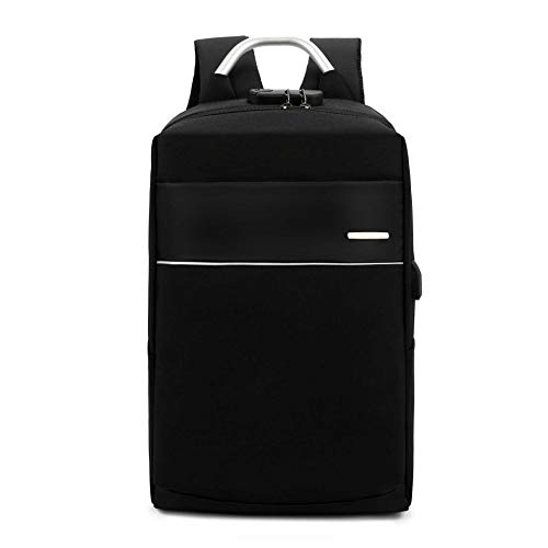 YJZZ Bi-Schultertasche Herren Business USB-Lade Passwort-Sperre Computertasche Casual Fashion Rucksack 18 Zoll/schwarz