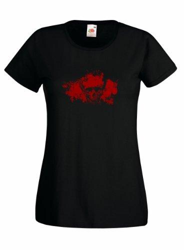 Sangre cráneo Splat 100% algodón mujeres Fruit of the Loom Custom Printed camiseta negro negro 46