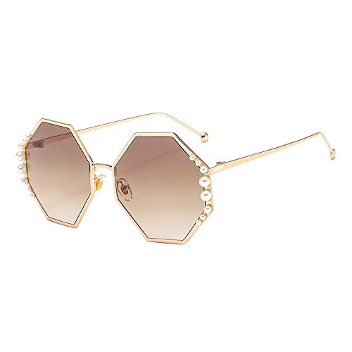 LKVNHP Neue Art undWeise Luxuxperlen Sonnenbrille Frauen Goldener Metallrahmen Weibliche Uv400 Sonnenbrillen Fashion Lady Beach-BrillenBraun