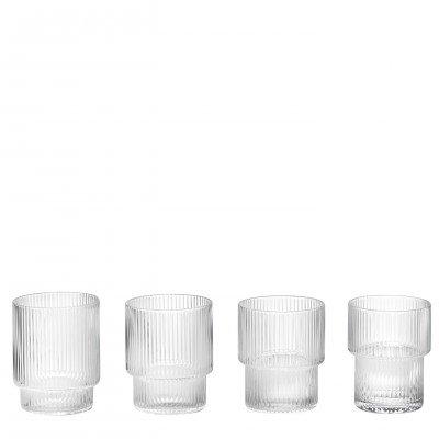 Ripple - Lot de 4 verres transparent/verre soufflé/H 8.8cm/Ø 7cm