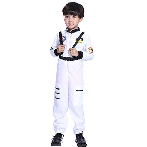 Space Weibliche Kostüm - feiXIANG Kinder Jungen Overall Astronaut Cosplay Space Suit Kostüm Boy Strampler Student Freizeitkleidung(Weiß,2-5 Jahre)