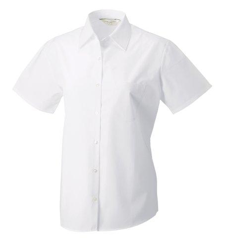 À manches courtes 100% coton Chemise en popeline de Russell Collection Femme Blanc