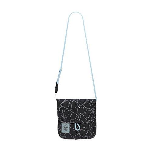 LÄSSIG Brustbeutel Junge Mädchen Brusttasche Umhängetasche Geldbeutel, Kordel mit Kindersicherung / Mini Neck Pouch, Spooky schwarz