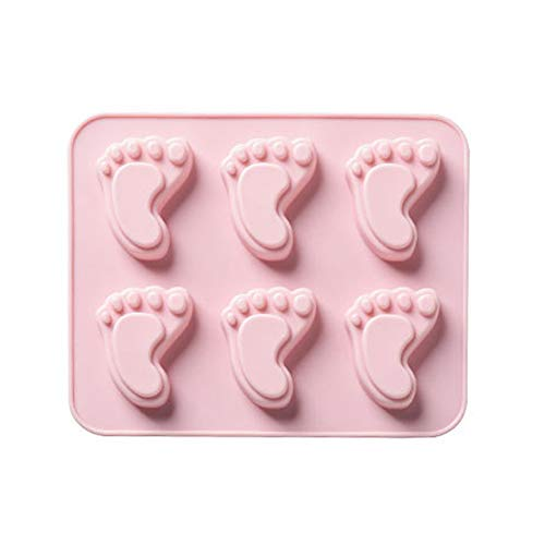 MoGist Silikonform 6 Raster Nette kleine Fuß Form Eiswürfelform Backwerkzeuge DIY Keksform Schokoladenform Handgemachte Fondant Tortendeko (Rosa) - Füße Silikonform