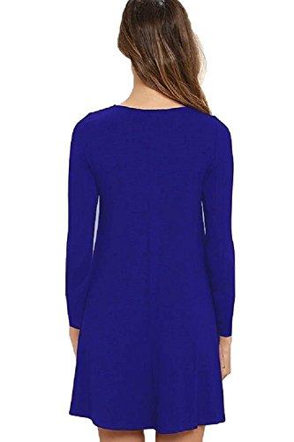 HAOMEILI Damen Langarm Stretch Casual Loose T-Shirt Kleid Königsblau