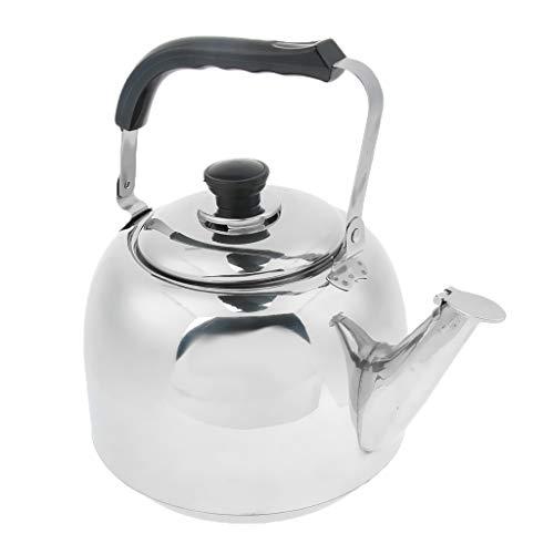 P Prettyia Edelstahl Wasserkessel Pfeifkessel Flötenkessel Teekessel für Küche, Camping, Reisen, Picknick, Grill - 3L
