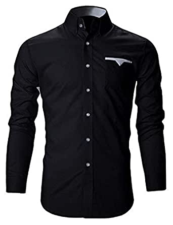 IndoPrimo Men's Latest Cotton Casual Shirt Full Sleeve Formal Shirt for Men (Black, Small - 38)