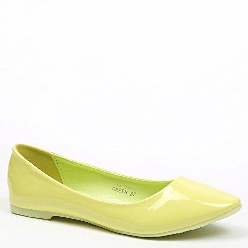 Ideal Shoes–Ballerinas VERNIS klassischen Patsy Grün