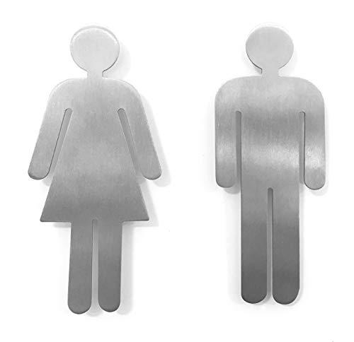 YdoG Toilettenschild, WC- Schild - 2er Set Damen und Herren - Höhe 11cm - Rostfreier Edelstahl gebürstet mit Selbstklebefolie für Bad, Hotel, Schul- und Restaurants