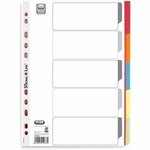 25 x Elba Register A4 blanko Karton 230 g/qm 5-teilig 5-farbig