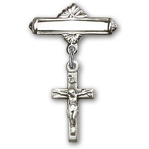Icecarats Diseñador De Joyas Esterlina Encanto Crucifijo De Plata Pin Insignia 1 1/8 X 5/8