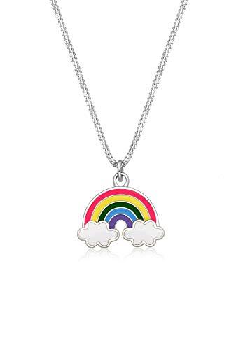 Elli Kinder-Kette mit Anhänger Wolke Regenbogen 925 Silber Emaille 36 cm - 0103693017_36