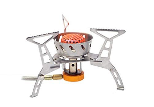 lyl Campingkocher Outdoor Campingkocher Gaskocher Campinggeschirr Outdoor Koch Geschirr Portable Piezo-Zündung Edelstahl Flamme Regulierbar Windschutz 11 * 9.5cm