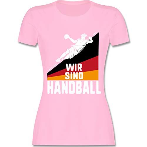 Handball WM 2019 - Wir sind Handball! Deutschland - XXL - Rosa - L191 - Damen Tshirt und Frauen T-Shirt