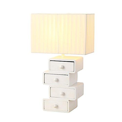 Pointhx Postmodern Persönlichkeit Tischlampe Rechteck Tuch Lampenschirm Tischlampe mit praktischen Holz Kunst Schublade für Schlafzimmer Schlafzimmer Studie Wohnzimmer -