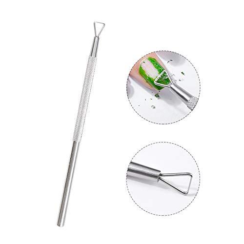 Clest F&H - Quitacutículas de acero inoxidable triangular, herramienta para eliminar el esmalte de uñas